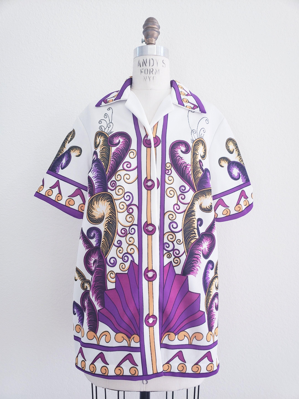 1970s Mens Shirt Styles – Vintage 70s Shirts for Guys 1970S Mens Unisex Bugelfrei Polyester Shirt $35.00 AT vintagedancer.com