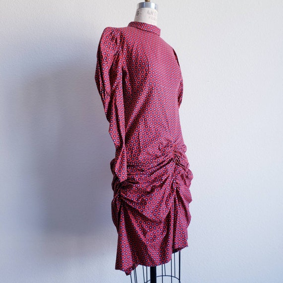 Vintage 70s Reworked Red Blue Bustle Ruched Dress