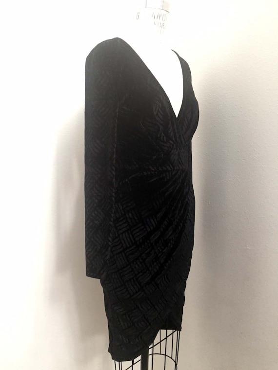 Vintage Black Crushed Velvet Dress