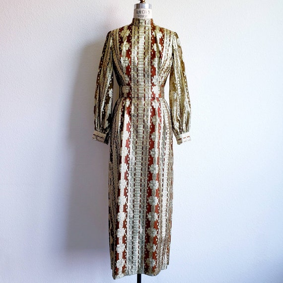 Vintage 70s Gold Lame' Maxi Gown Dress