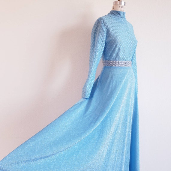 Vintage 70s Blue Lurex Maxi Dress