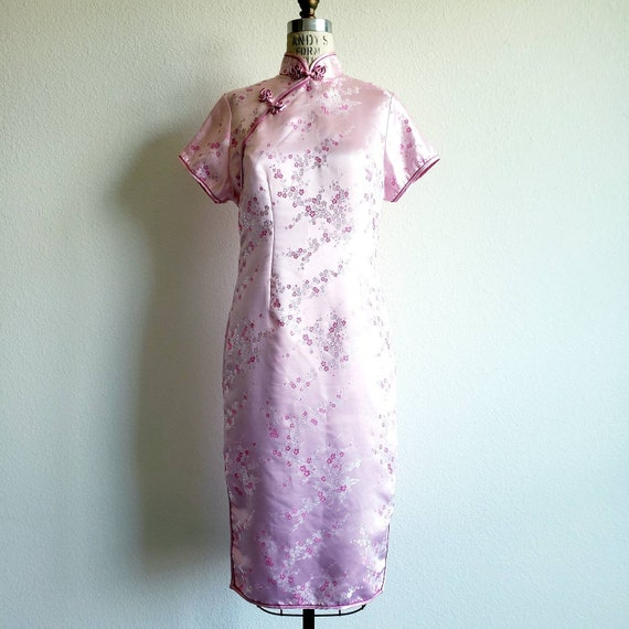 Vintage Pink Cheongsam Qipao Mandarin Dress - image 1