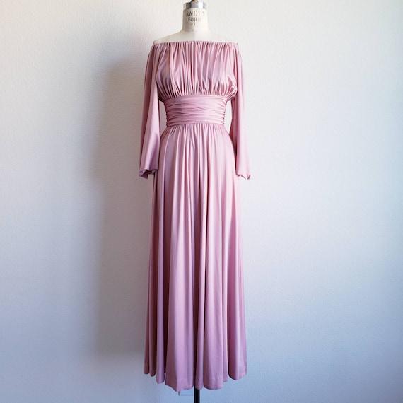 Vintage 70s Alison Ayres Pink Mauve Bishop Sleeve