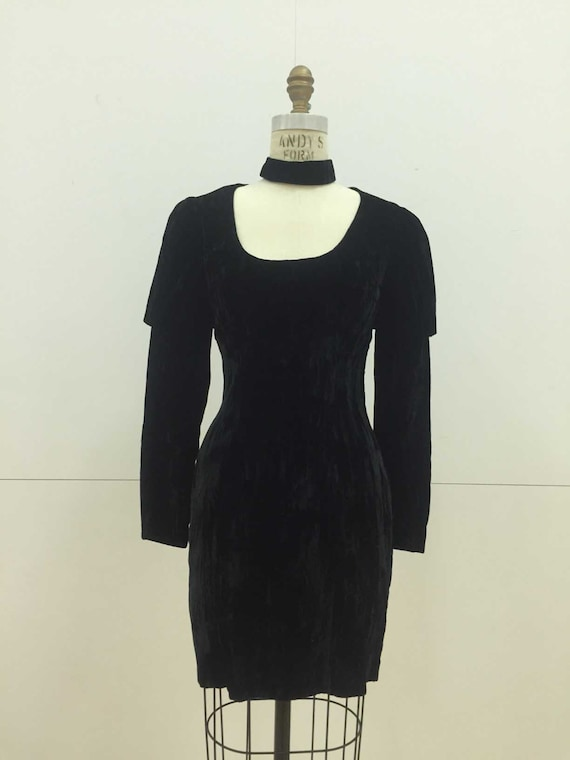 Vintage 90s Crushed Velvet Black Dress with Leg O