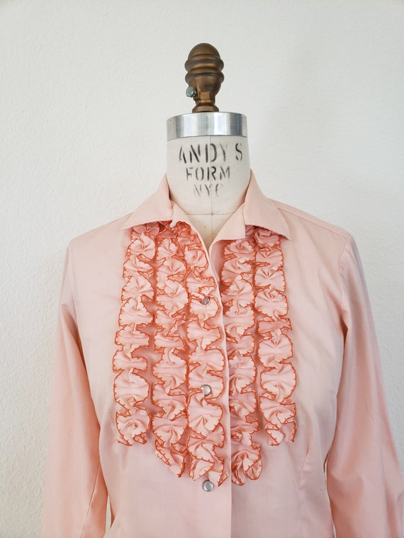 Vintage 70s Pink Ruffle Blouse - image 4