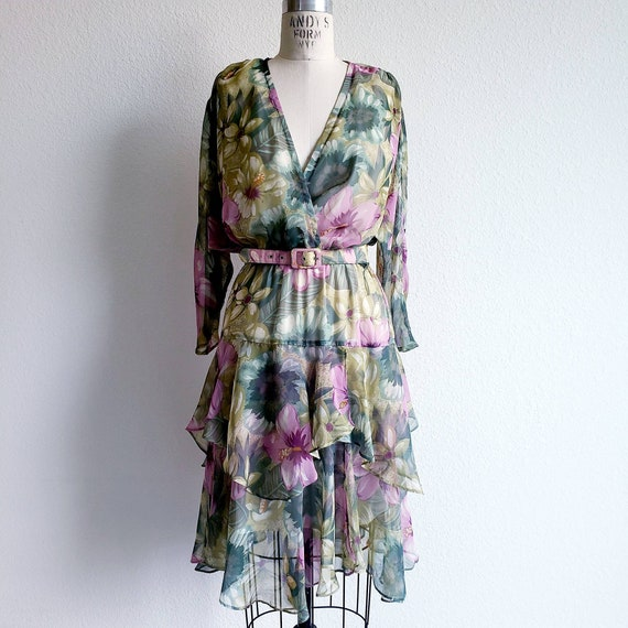 Vintage 80s Chiffon Floral Ruffle Batwing Sleeve D