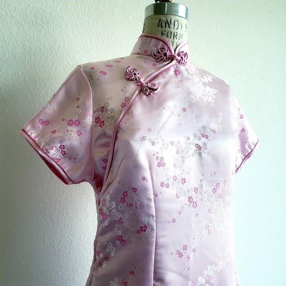 Vintage Pink Cheongsam Qipao Mandarin Dress - image 4
