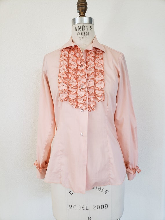 Vintage 70s Pink Ruffle Blouse - image 1