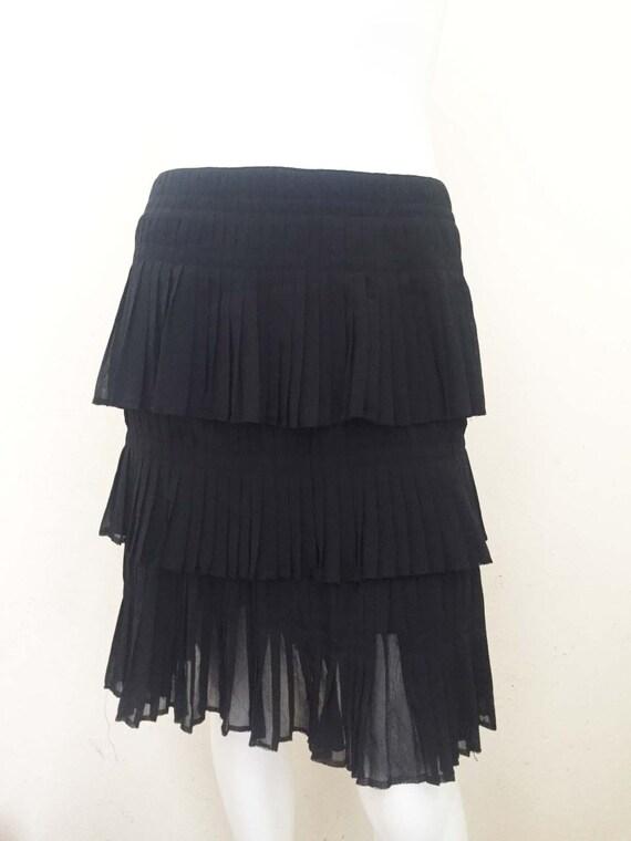 Vintage Black Chiffon Pleated Tiered Skirt