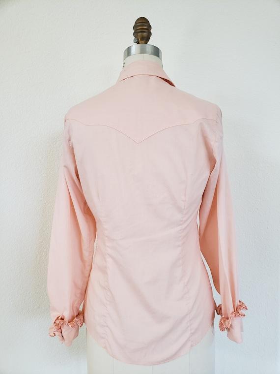 Vintage 70s Pink Ruffle Blouse - image 2