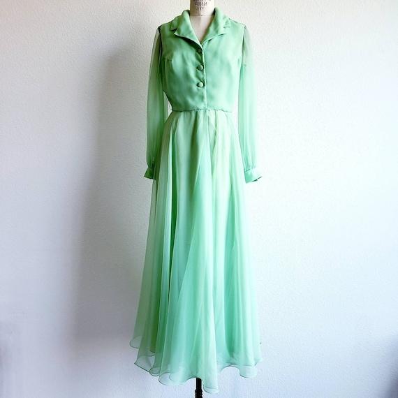 Vintage 70s Lime Green Chiffon Miss Elliette Maxi