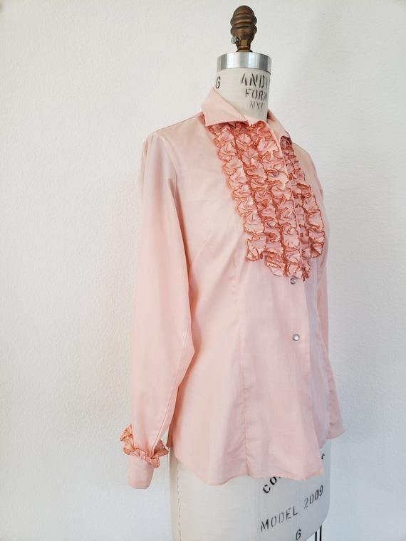 Vintage 70s Pink Ruffle Blouse - image 3