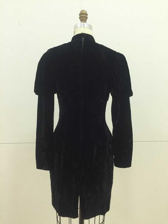 Vintage 90s Crushed Velvet Black Dress with Leg O… - image 2