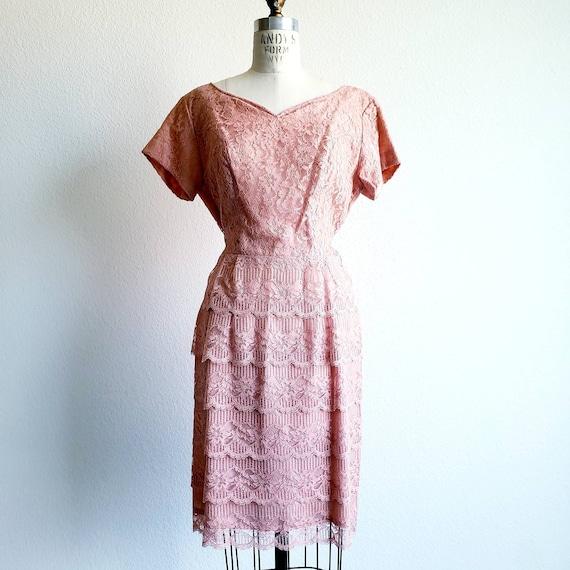 Vintage 50s/60s Pink Lace Dress