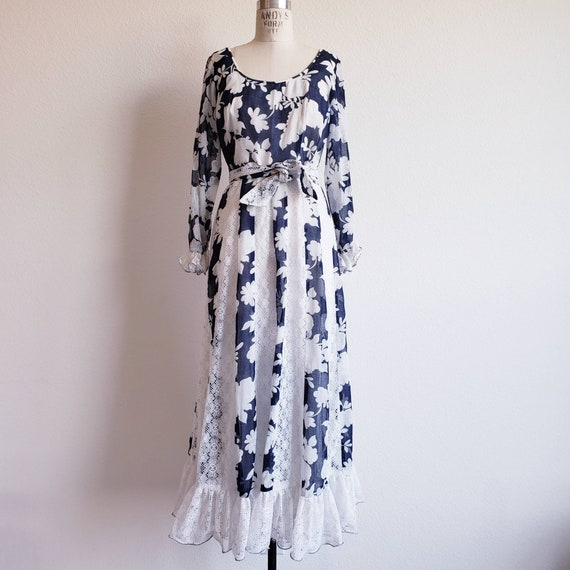 Vintage 70s Blue And White Prairie Maxi Dress