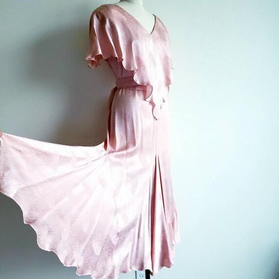 Vintage 70s Pink Jacquard Holly's Harp Scarf Dress