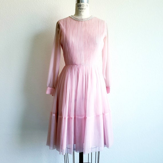 Vintage 50s/60s Pink Pleated Chiffon Dress