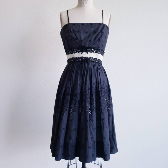 Vintage 50s Black Eyelet Dress