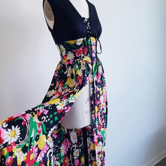 Vintage 70s Lace up Floral Maxi Dress