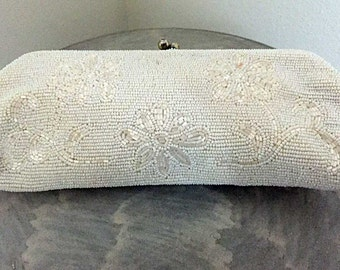 Vintage Beaded White Clutch Purse Evening Bag