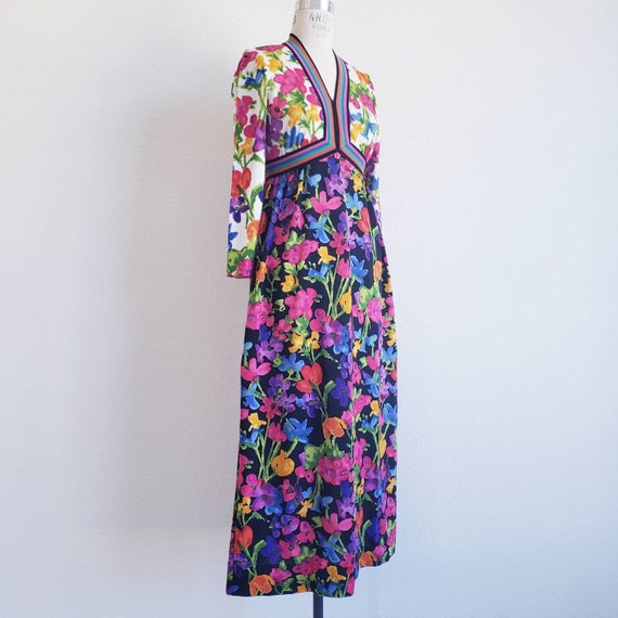Vintage 70s Goldworm Floral Maxi Dress