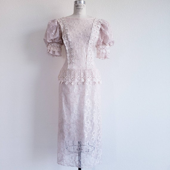 80s Does Victorian Pink Sheer Lace Dress
