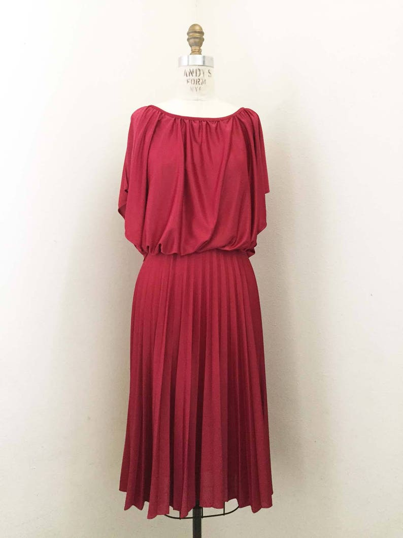 0aea1974f2698 ON SALE 70s Cranberry Dress with Pleated Skirt | Etsy