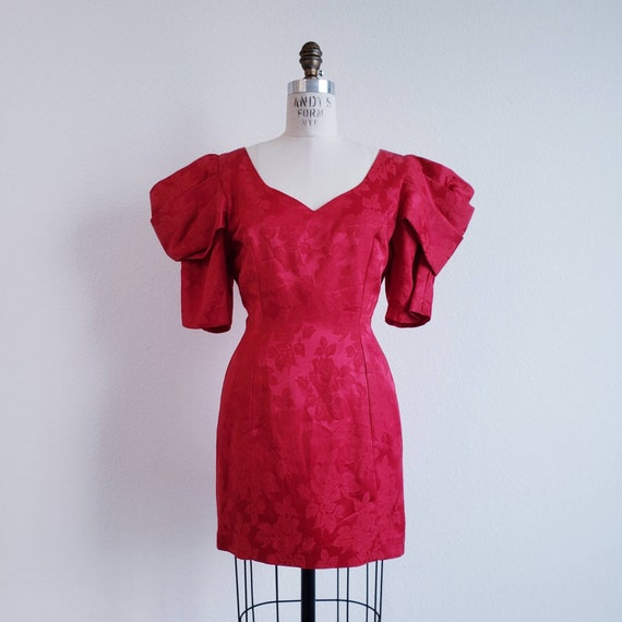 Vintage 80s Puffy Puff Sleeve Red Mini Dress