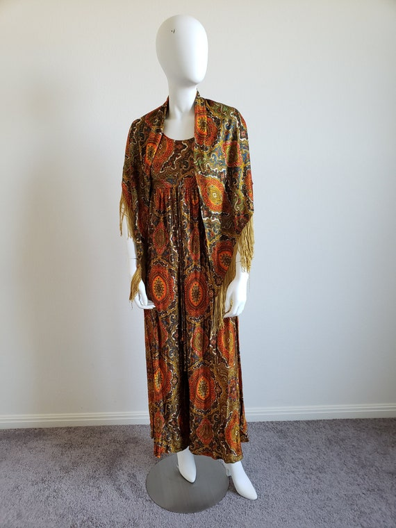 Vintage 70s Paisley Jumpsuit with Fringed Shawl