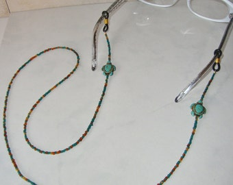 RESERVED Beaded Eyeglass Holder Eyeglass Chain Handmade with Turquoise Turtle and Teal Beads