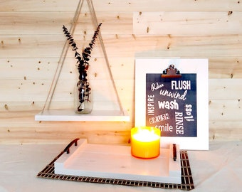 Home Decor Set - Farmhouse Tray, Rope Shelf, Clipboard Wall Frame -  Bathroom Set, Living Room Set, Bedroom Set