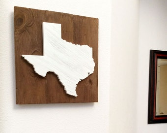 """Handcrafted Wood State Cutout Sign (Large 17x17"""") - Solid Wooden Wall Art Home Decor  #home #Texas #mom"""