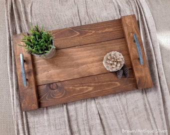 Farmhouse Tray - (4 size options S,M,L & *GIANT <--NEW) - Handcrafted Rustic Wood Ottoman Tray - Serving tray, gift tray, table tray, rustic