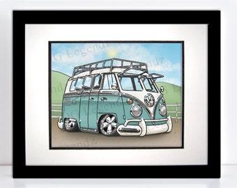 VW Delux Safari Bus, Art Print - An Original EXCLUSIVE Volkswagen Design by Og Legendz... Lowered VW Type 2 Safari Bus