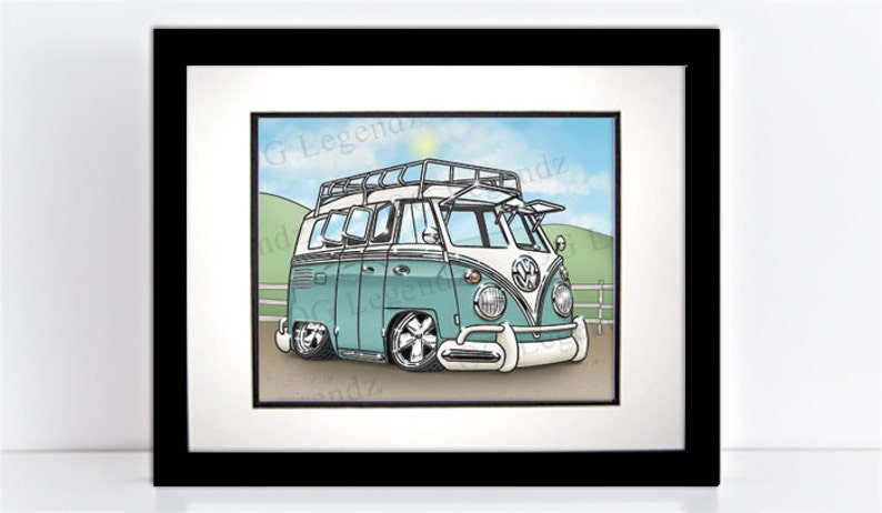 VW Delux Safari Bus Art Print  An Original EXCLUSIVE image 0