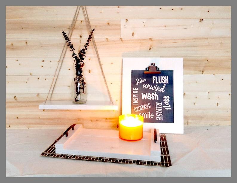 Home Decor Set  Farmhouse Tray Rope Shelf Clipboard Wall image 0