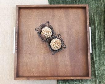 "Tray - 30""x30"" Horizon Handcrafted Rustic Wood Ottoman Tray- 2XL (XX Extra Large) - decorative tray, gift tray, serving tray, farmhouse"