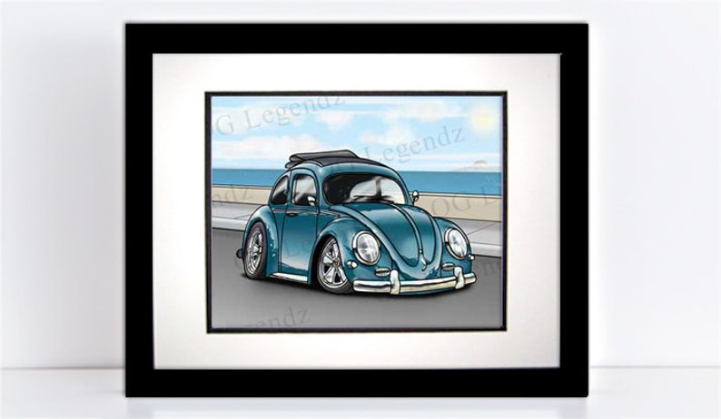 VW Ragtop Bug Beetle Art Print  An Original EXCLUSIVE image 0
