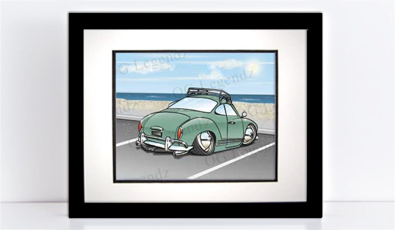 Slammed VW Ghia Art Print  An Original EXCLUSIVE Volkswagen image 0