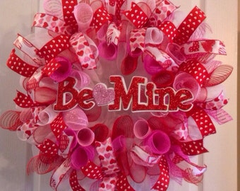 Valentine Wreath Valentine S Day Deco Mesh Wreath Deco Etsy