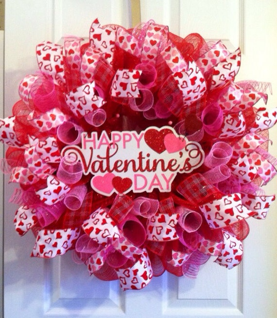 Valentine Wreath Heart Valentine S Day Mesh Etsy