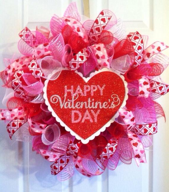 Valentine Wreath Heart Valentine S Day Mesh Etsy