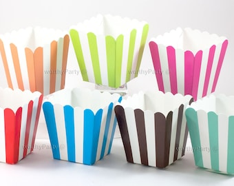 STRIPED MINI Treats Candy Nut Popcorn Goodie & Favor Cups/Boxes  - (set of 10)