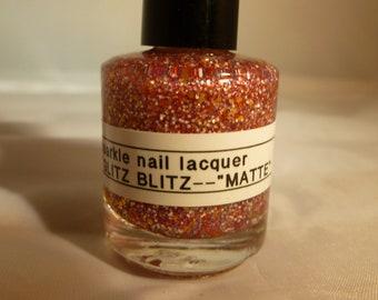 """Glitz Blitz--""""Matte""""---Handmade/Homemade Glitter Nail Polish"""
