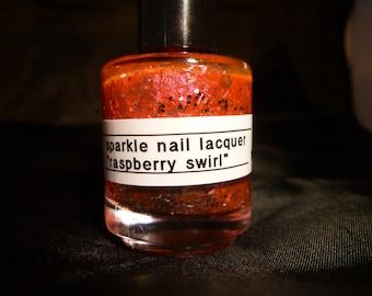 Raspberry Swirl---Handmade/Homemade Glitter Nail Polish