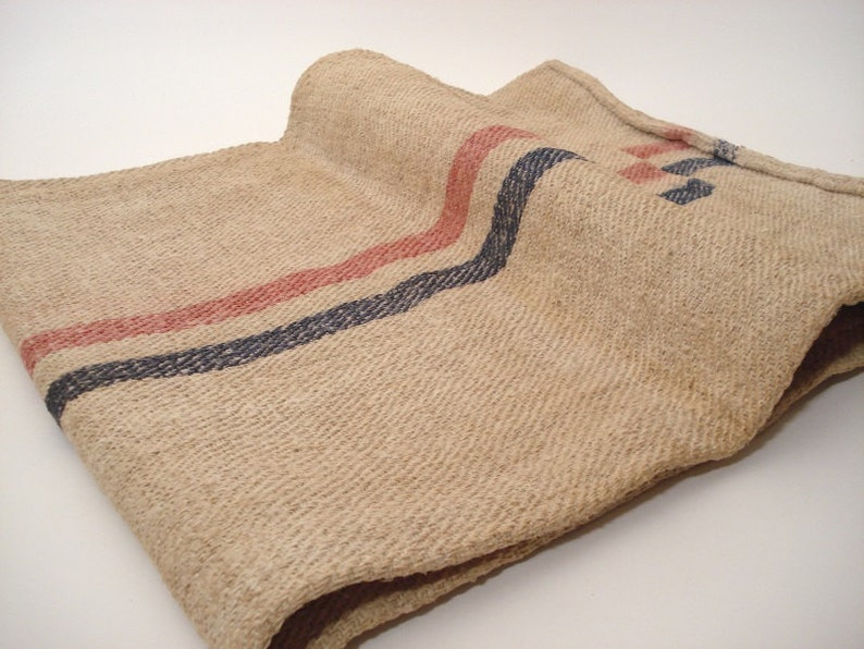 Grain Sack  Antique stairruner  Upholstery fabric  Grainsack  Blue and red stripes