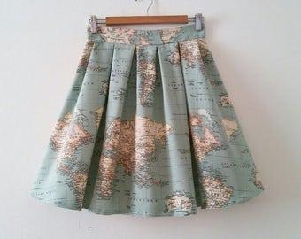 World Map Skirt, Map Printed High Waisted Skirt in Blue Green, Vintage Inspired Atlas Printed Skirt , World Map Cotton Skirt, Made to Order