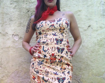 64b57f02f85b5 Tattoo Dress Made of Cotton Black Strapless Fitted Dress with | Etsy