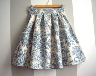 Toile de Jouy Skirt in Blue, Cotton Pleated Toile Skirt, Blue and Cream Toile High Waisted Skirt,  Made to Order