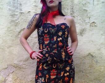 5ca8208b80814 Tattoo Print Dress made of Cotton Strapless Old School Tattoo | Etsy